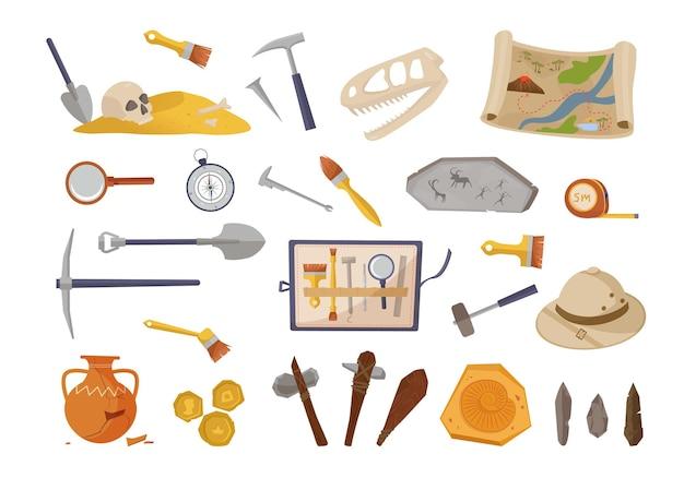 Conjunto de inventário arqueológico e achados antigos. escolha uma pá para escavação com escovas, martelo, ferramentas pré-históricas, pessoas primitivas com crânio de dinossauro, mapa de moedas de ouro antigas. escavação de vetores.