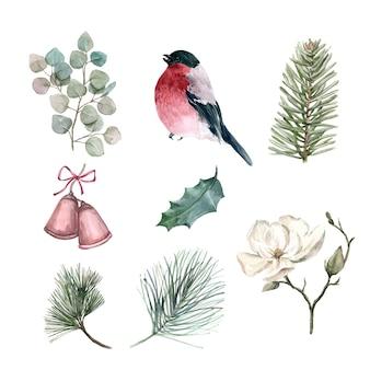 Conjunto de inverno em aquarela, ilustração de elementos isolados.