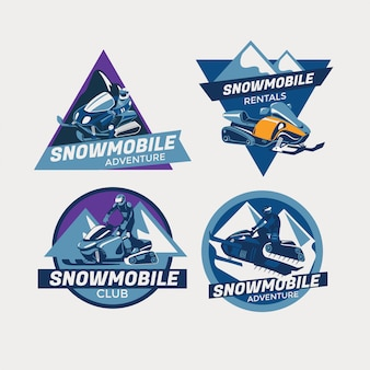 Conjunto de inverno moderno colorido snowmobile emblemas, distintivos