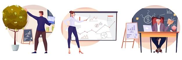 Conjunto de investimentos de composições isoladas com caracteres planos de especialistas financeiros em locais de trabalho com ilustração de diagramas