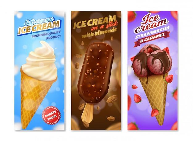 Conjunto de invólucro de sorvete diferente realista realista