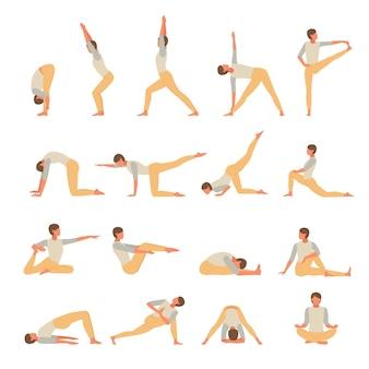 Conjunto de ioga de fitness de personagem feminina envolvida. a menina realiza ativamente exercícios de asana postura de pé
