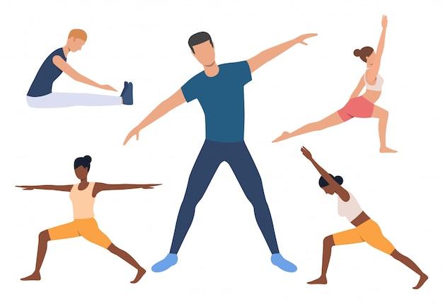 Conjunto de iogue. homens mulheres, fazendo, ioga
