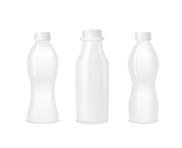 Conjunto de iogurte em branco branco garrafas de plástico.