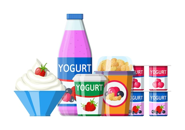 Conjunto de iogurte ou sobremesa com leite. sobremesa de iogurte de cereja com groselha preta e morango. copo de plástico para alimentos, garrafa e tigela de creme. produto lácteo. produto orgânico saudável.
