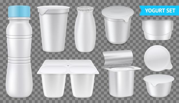 Conjunto de iogurte realista isolado transparente branco embalagens em branco de ilustração vetorial de iogurte potável e denso