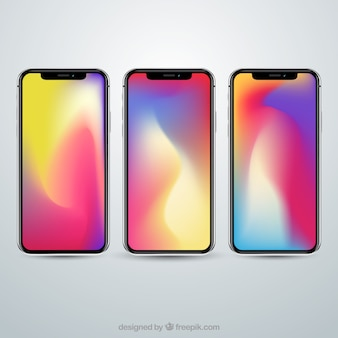 Conjunto de iphone x com papel de parede gradiente