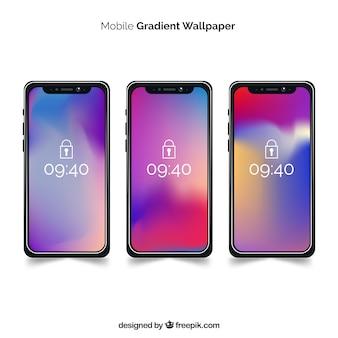 Conjunto de iphone x com papel de parede gradiente
