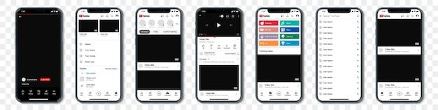 Conjunto de iphones azuis com moldura de modelo para rede social em um fundo transparente