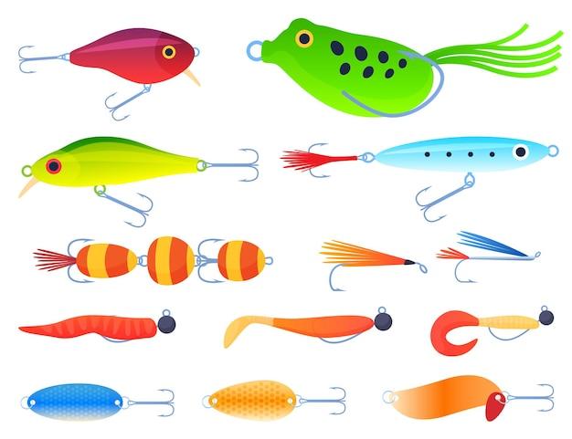 Conjunto de iscas de pesca para fiação.