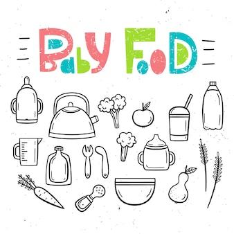 Conjunto de isolados comida de bebê e pratos de bebê.