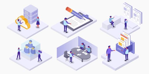 Conjunto de isomatria de pessoas que trabalham no local de trabalho em análise e gestão estatística, conceito de negócio