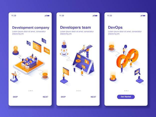 Conjunto de isométrica da empresa de desenvolvimento de aplicativos