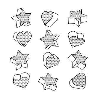 Conjunto de isométricos, corações e estrelas 3d.