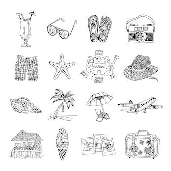Conjunto de isons de esboço de doodle de férias de verão