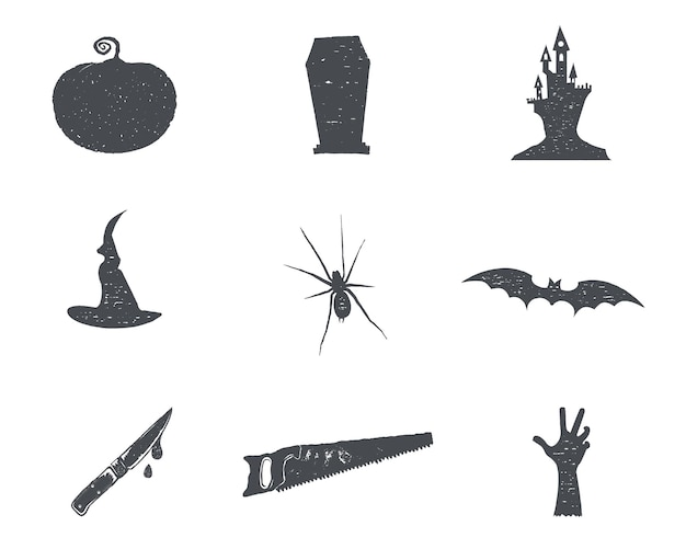 Conjunto de isons de silhueta de halloween. símbolos de festa de halloween vintage mão desenhada design para comemorar o feriado. estilo retro monocromático. vetor de ações isolado no fundo branco.