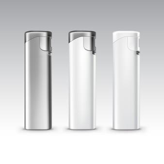 Conjunto de isqueiros de metal plástico branco em branco close-up isolado no fundo branco