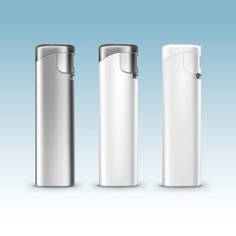 Conjunto de isqueiros de metal plástico branco em branco close-up