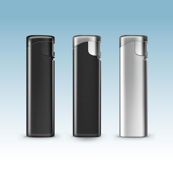 Conjunto de isqueiros de metal plástico preto em branco close-up
