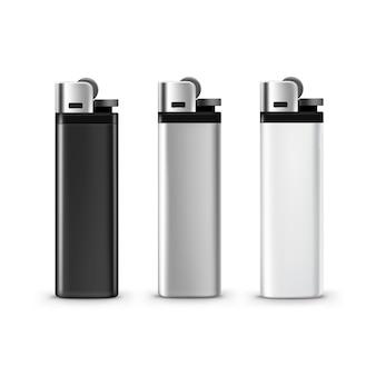 Conjunto de isqueiros de plástico branco preto em branco