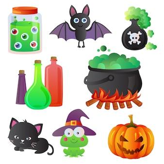 Conjunto de item de ícone dos desenhos animados de halloween
