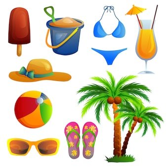 Conjunto de item de praia de ícone de verão