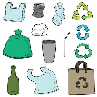 Conjunto de item de reciclagem