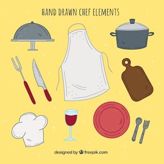 Conjunto de item do chef desenhado à mão