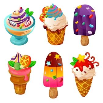 Conjunto de item obejct colorido dos desenhos animados de sorvete