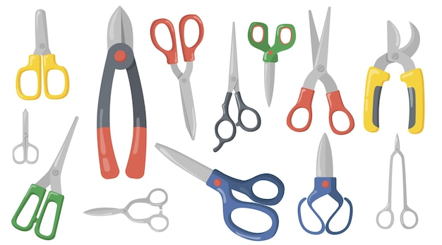 Conjunto de item plano criativo tesouras, tesouras e tesouras de podar.