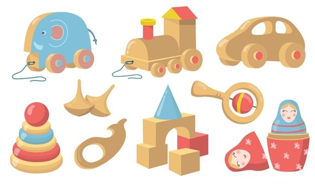 Conjunto de item plano de brinquedos de madeira vintage.