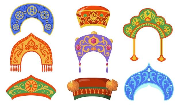Conjunto de item plano de senhora nacional russa. desenhos animados kokoshniks para coleção de ilustração vetorial isolado de traje popular étnico. conceito de cocar e rússia