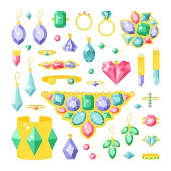 Conjunto de itens de acessórios de jóias dos desenhos animados
