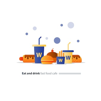 Conjunto de itens de café de fast food, ícones de cachorro-quente e hambúrguer, bebidas grandes e pequenas, comer e beber