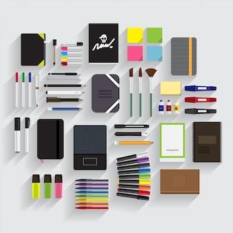 Conjunto de itens de caneta, lápis, livro de esboço, elemento de desenho