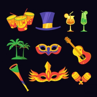 Conjunto de itens de carnaval
