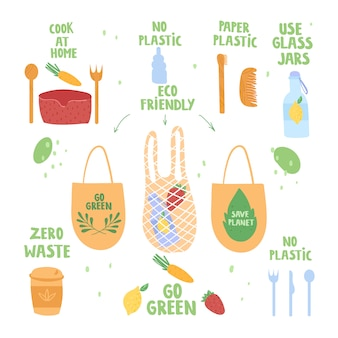 Conjunto de itens de desperdício zero. conceito de proteção da natureza. ilustração.
