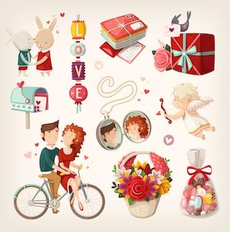 Conjunto de itens de dia dos namorados romântico e pessoas. ilustrações isoladas