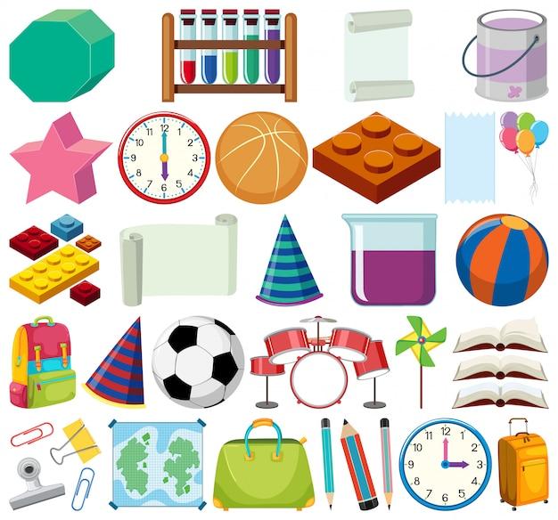 Conjunto de itens de escola de tema de objetos isolados