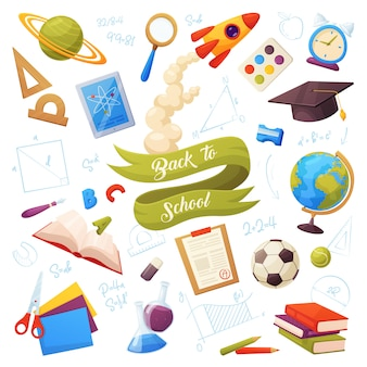 Conjunto de itens de escola. os objetos e suprimentos para desenhos animados incluem: livros, globo, tablet, lupa, bola, alarme, régua, tinta, frascos, lápis, boné, lista de notas, foguete