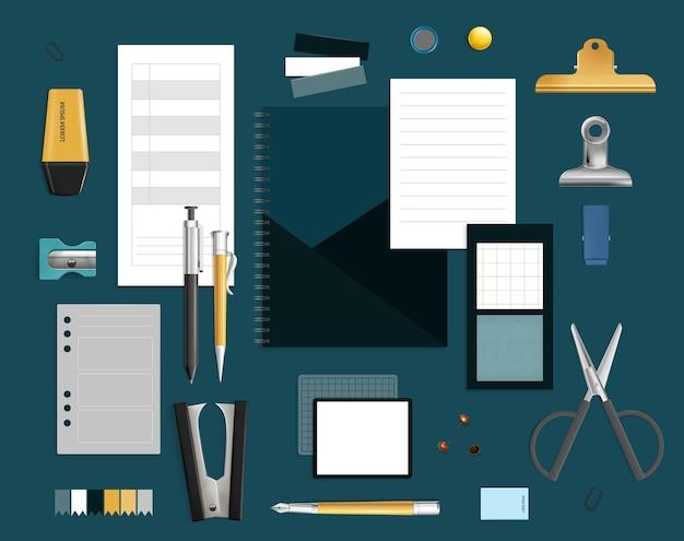 Conjunto de itens de escritório com ordanizer e apontador realista isolado