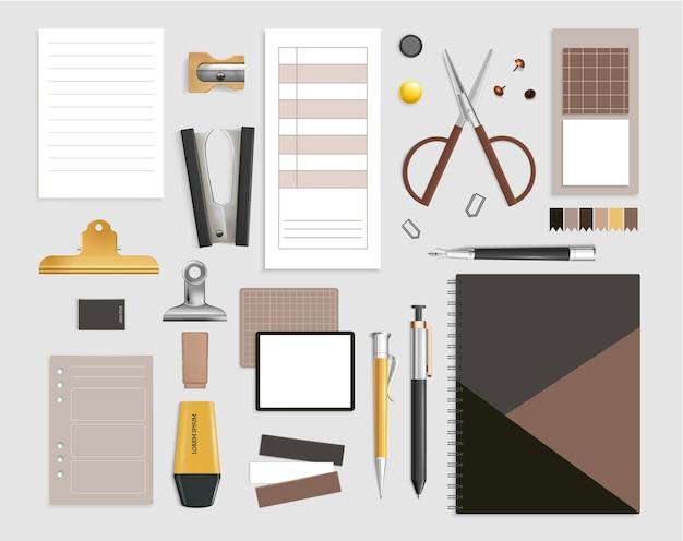 Conjunto de itens de escritório com tesoura e caneta ilustração isolada realista