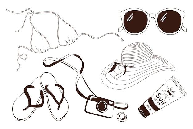 Conjunto de itens de férias de mão desenhada. biquíni de óculos de sol, chinelos, câmera fotográfica, tubo de protetor solar, chapéu de mulher. coleção de atributos de férias de verão para logotipo, adesivos, estampas, design de etiqueta. vetor premium
