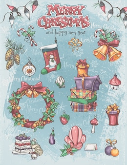 Conjunto de itens de férias de natal, bem como fundo