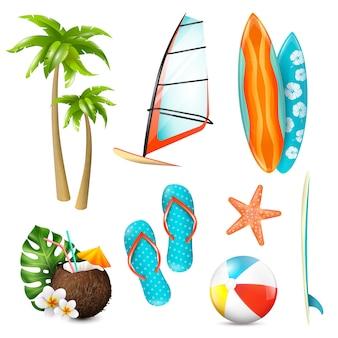 Conjunto de itens de férias de surf de verão