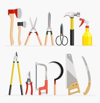 Conjunto de itens de ferramentas de artesão e jardineiro.
