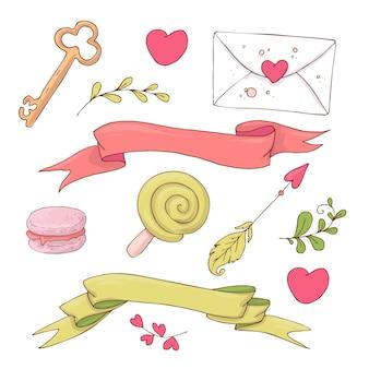 Conjunto de itens de giro dos desenhos animados para o dia dos namorados