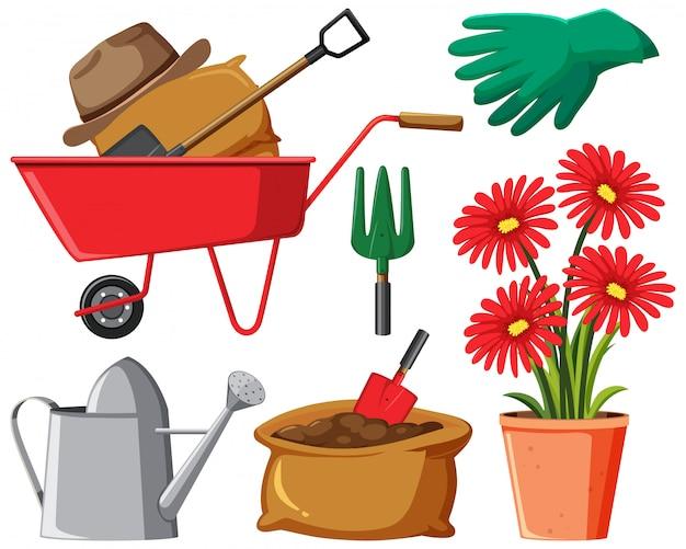 Conjunto de itens de jardinagem em fundo branco