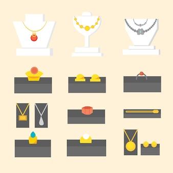 Conjunto de itens de joalheria acessórios preciosos de ouro e pedras preciosas