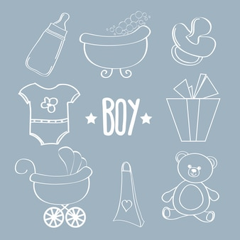 Conjunto de itens de menino de bebê linear